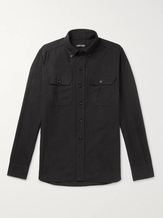 TOM FORD Slim-Fit Button-Down Collar Brushed-Cotton Shirt