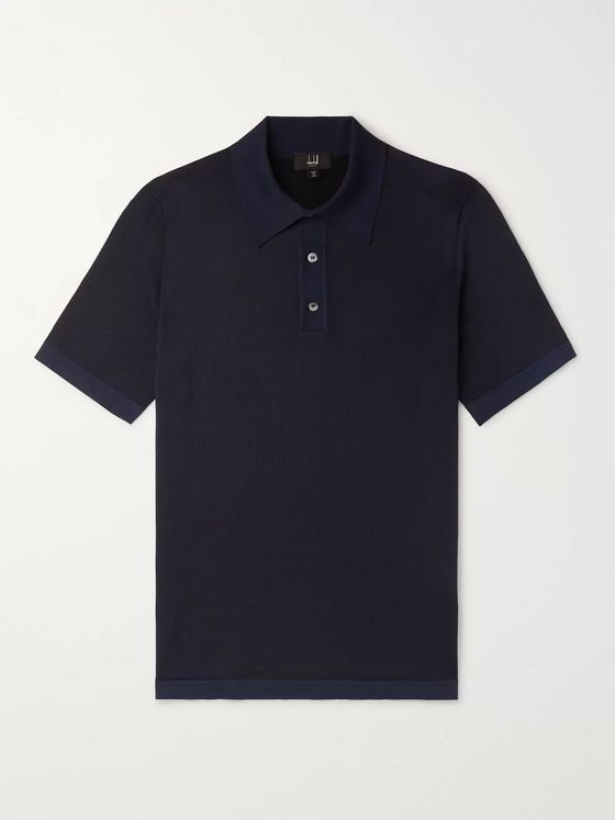 Dunhill Herringbone-Knit Mulberry Silk Polo Shirt