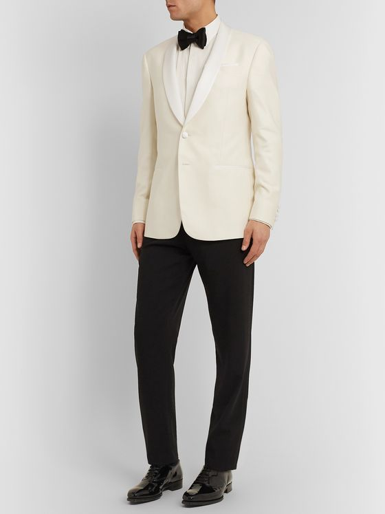 Giorgio Armani White Shawl-Collar Slub Silk and Wool-Blend Tuxedo Jacket