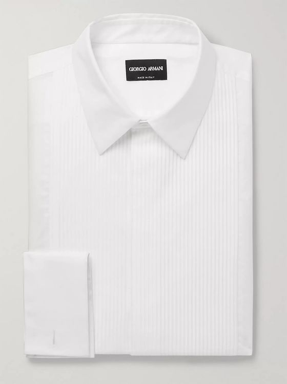 Giorgio Armani White Bib-Front Double-Cuff Cotton-Poplin Tuxedo Shirt