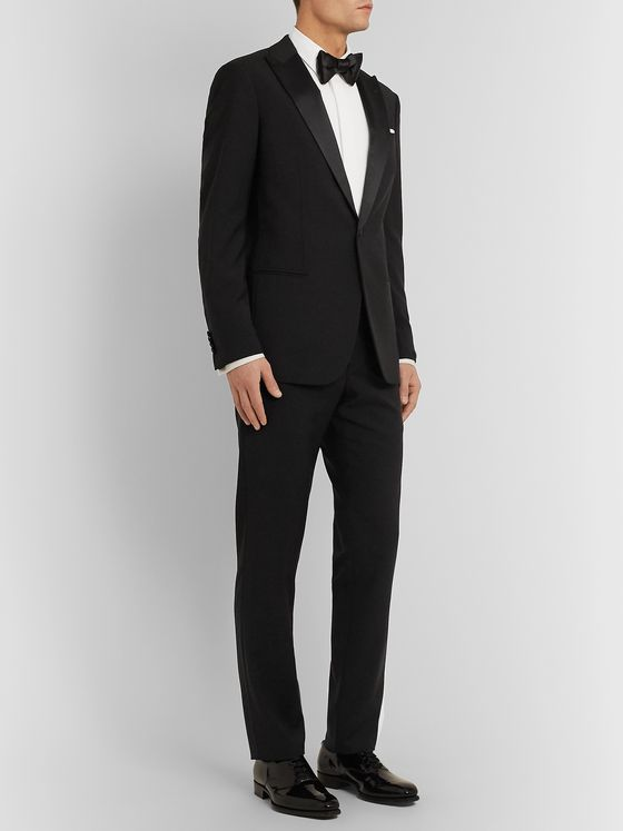 Giorgio Armani Black Soho Slim-Fit Mulberry Silk Satin-Trimmed Virgin Wool Tuxedo Jacket