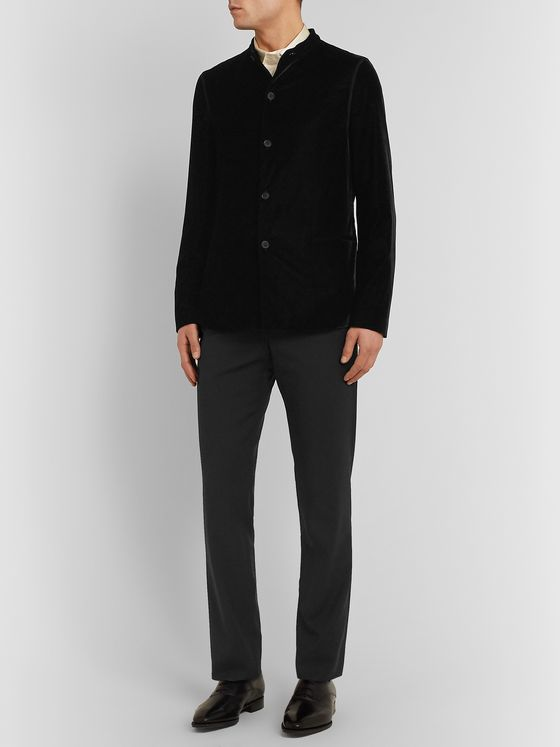 Giorgio Armani Black Slim-Fit Velvet Tuxedo Jacket