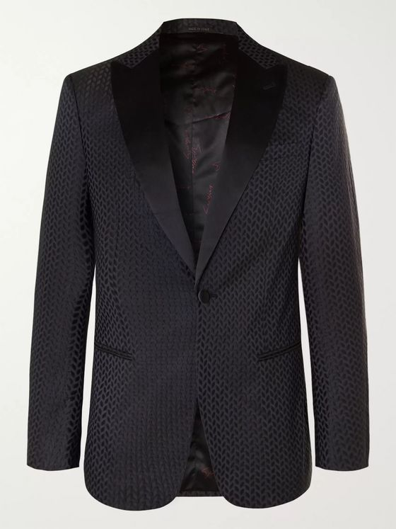 Giorgio Armani Navy Slim-Fit Silk Satin-Trimmed Jacquard Tuxedo Jacket