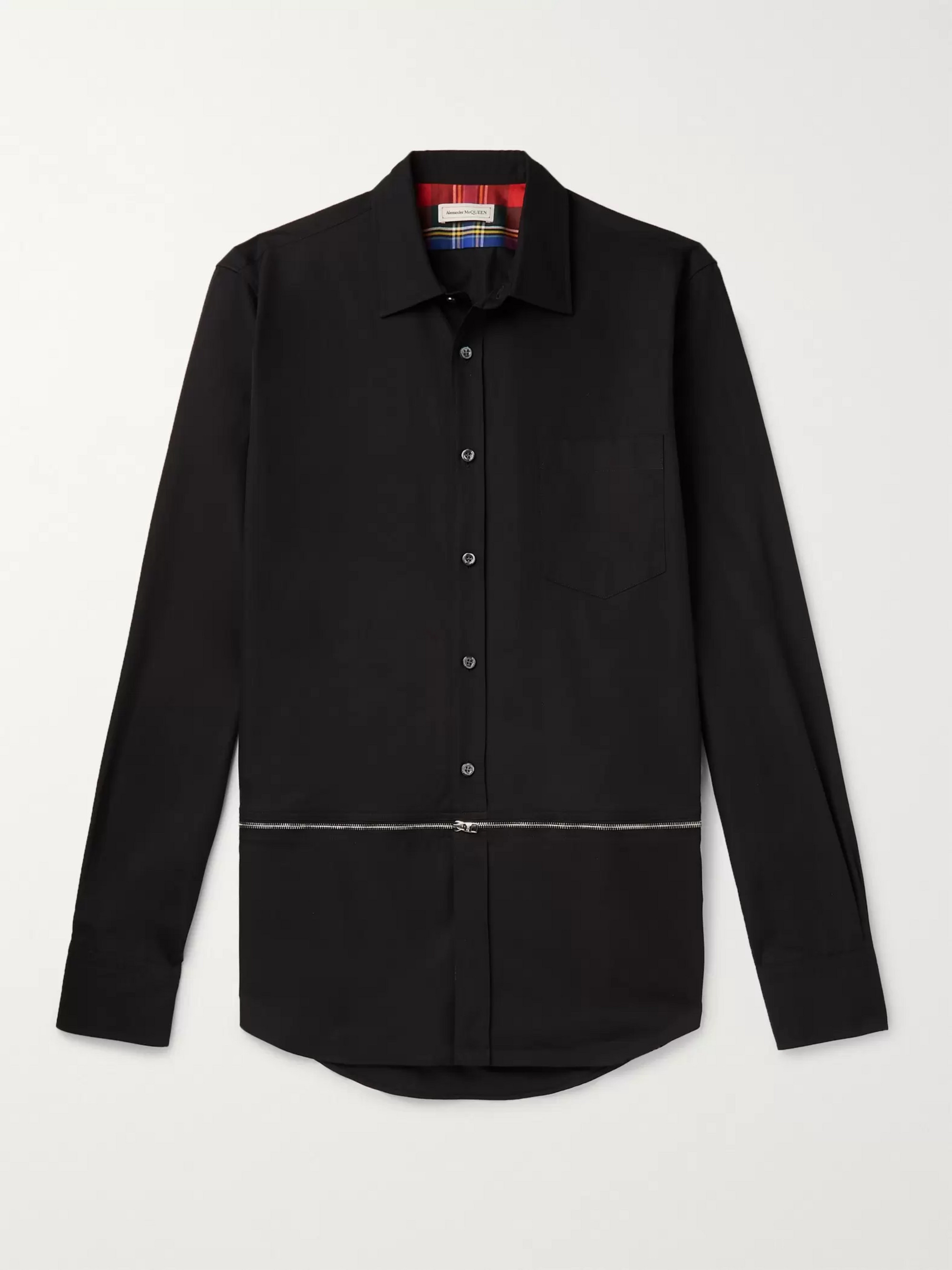 Alexander McQueen Slim-Fit Zip-Detailed Cotton-Poplin Shirt