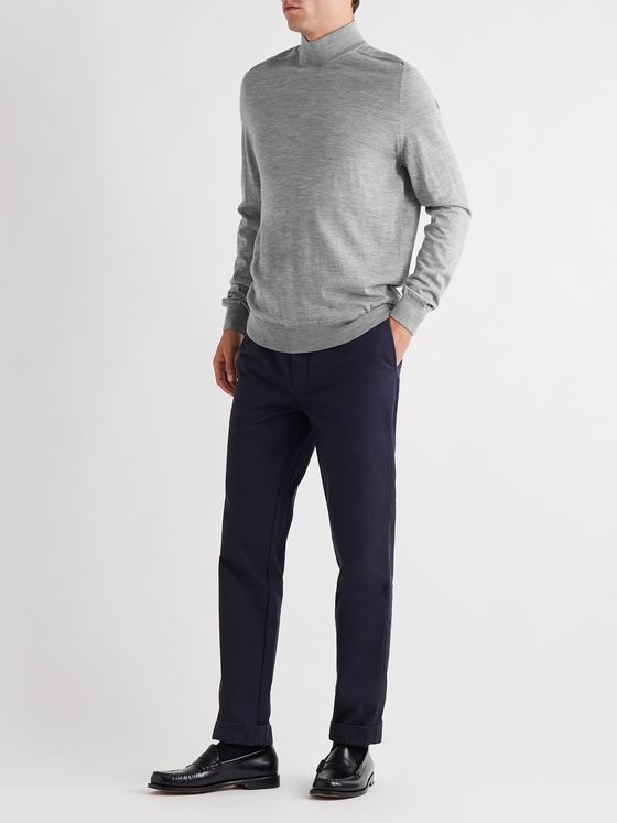 Mr P. Mélange Merino Wool Mock-Neck Sweater