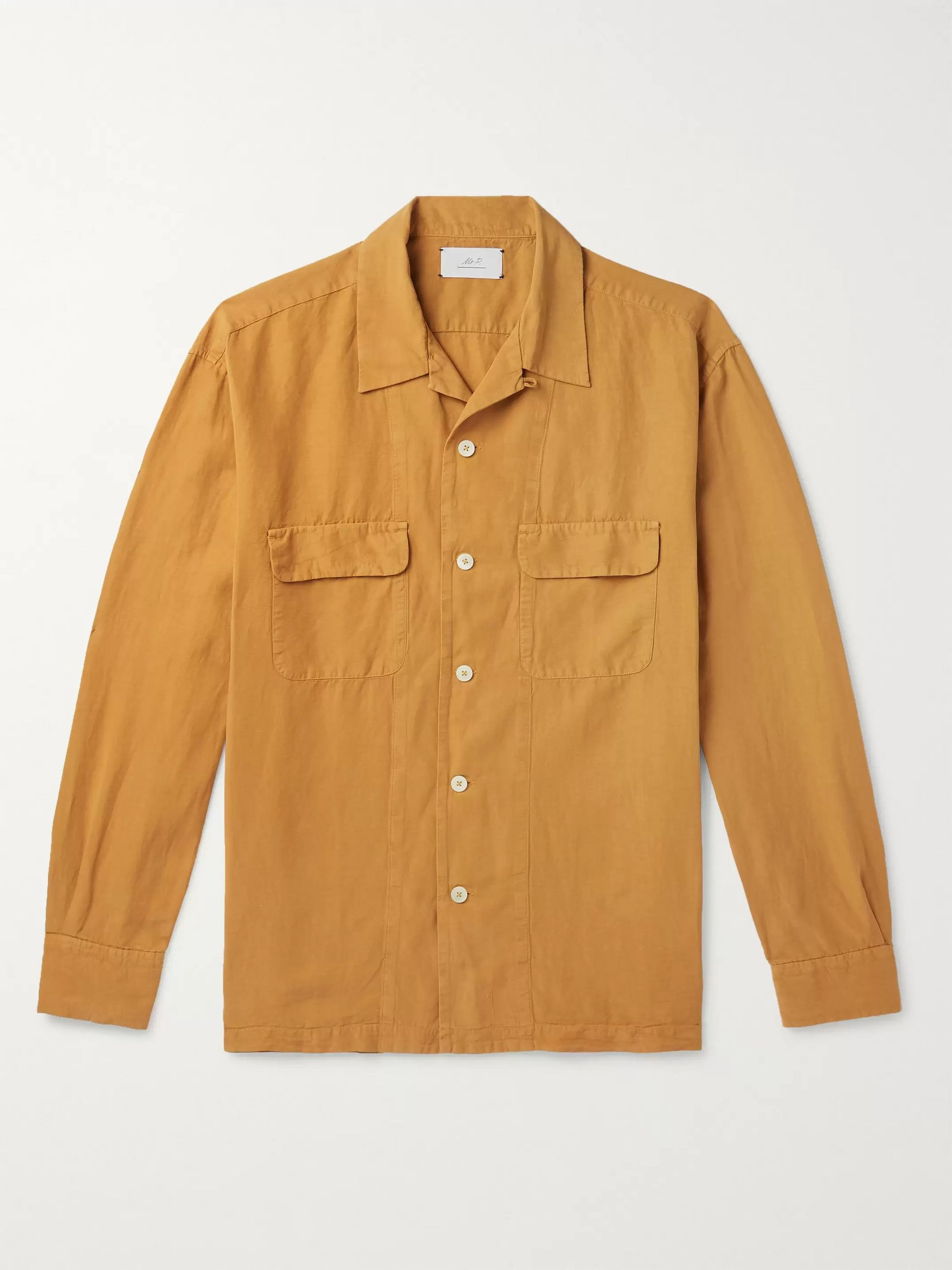 Mr P. Convertible-Collar Garment-Dyed Lyocell, Linen and Cotton-Blend Shirt