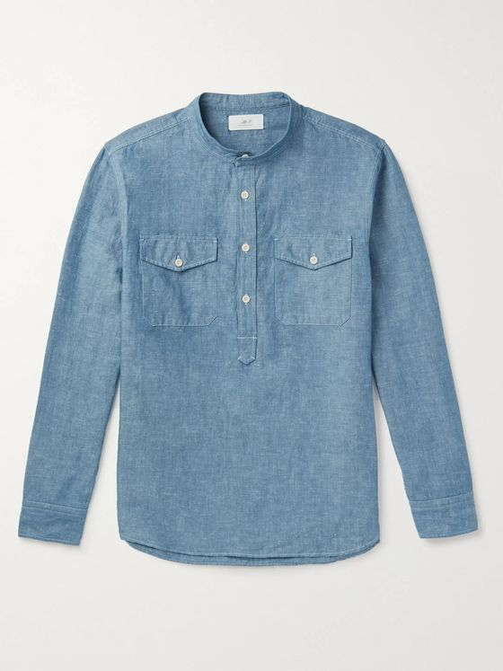 Mr P. Grandad-Collar Slub Cotton and Linen-Blend Chambray Half-Placket Shirt
