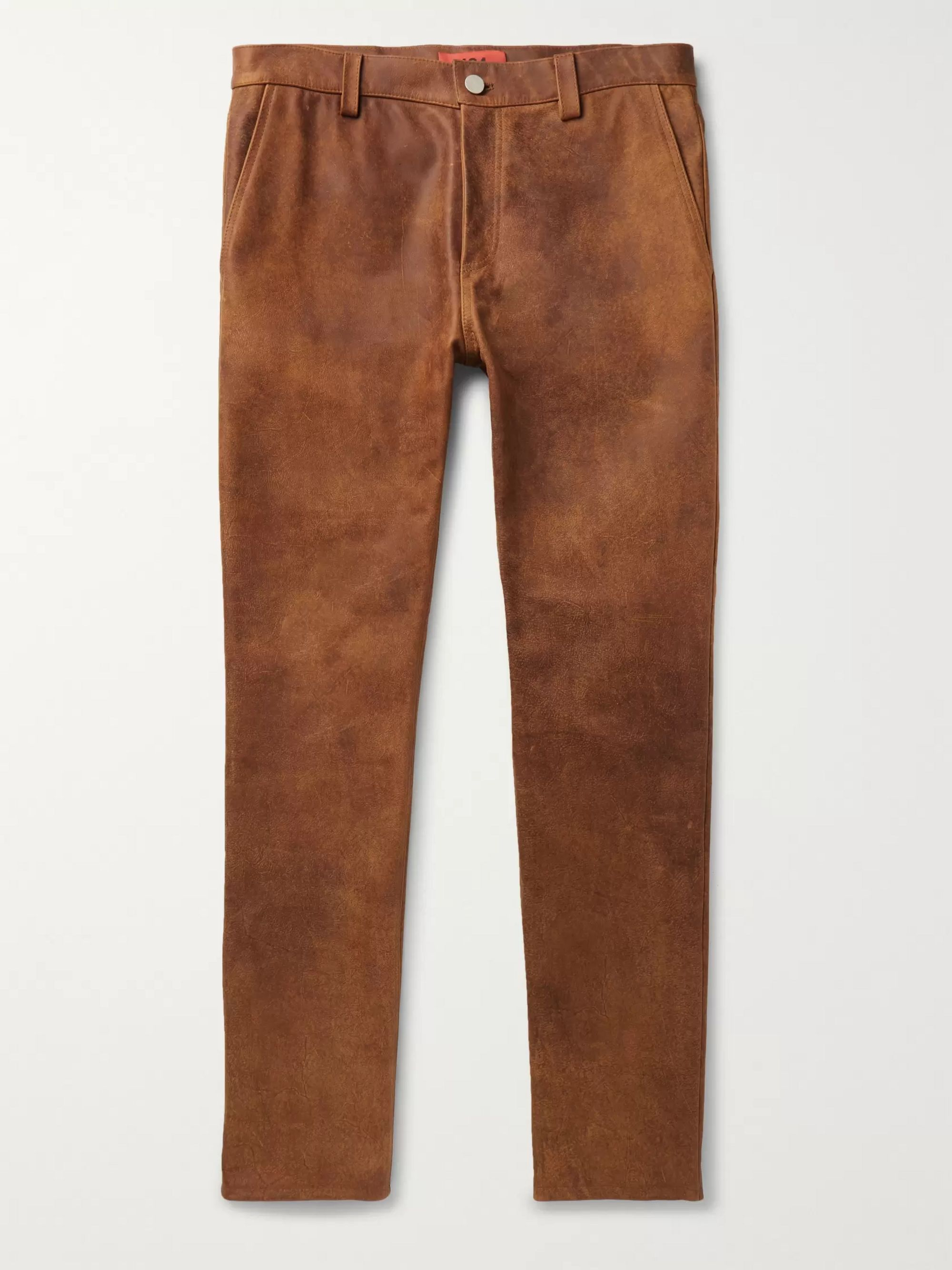 Slim Fit Leather Trousers by 424