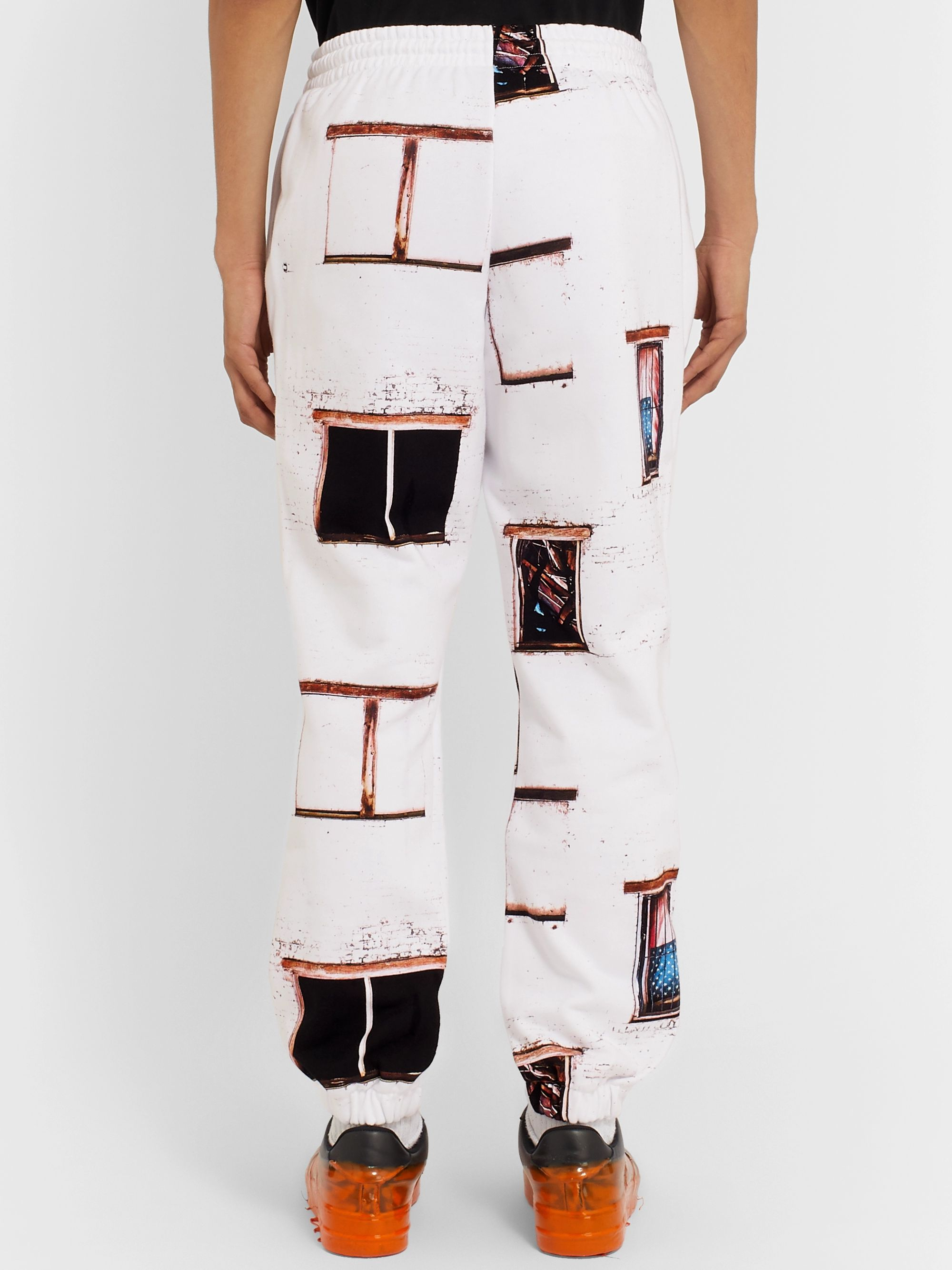 424 Printed Fleece-Back Cotton-Jersey Track Pants