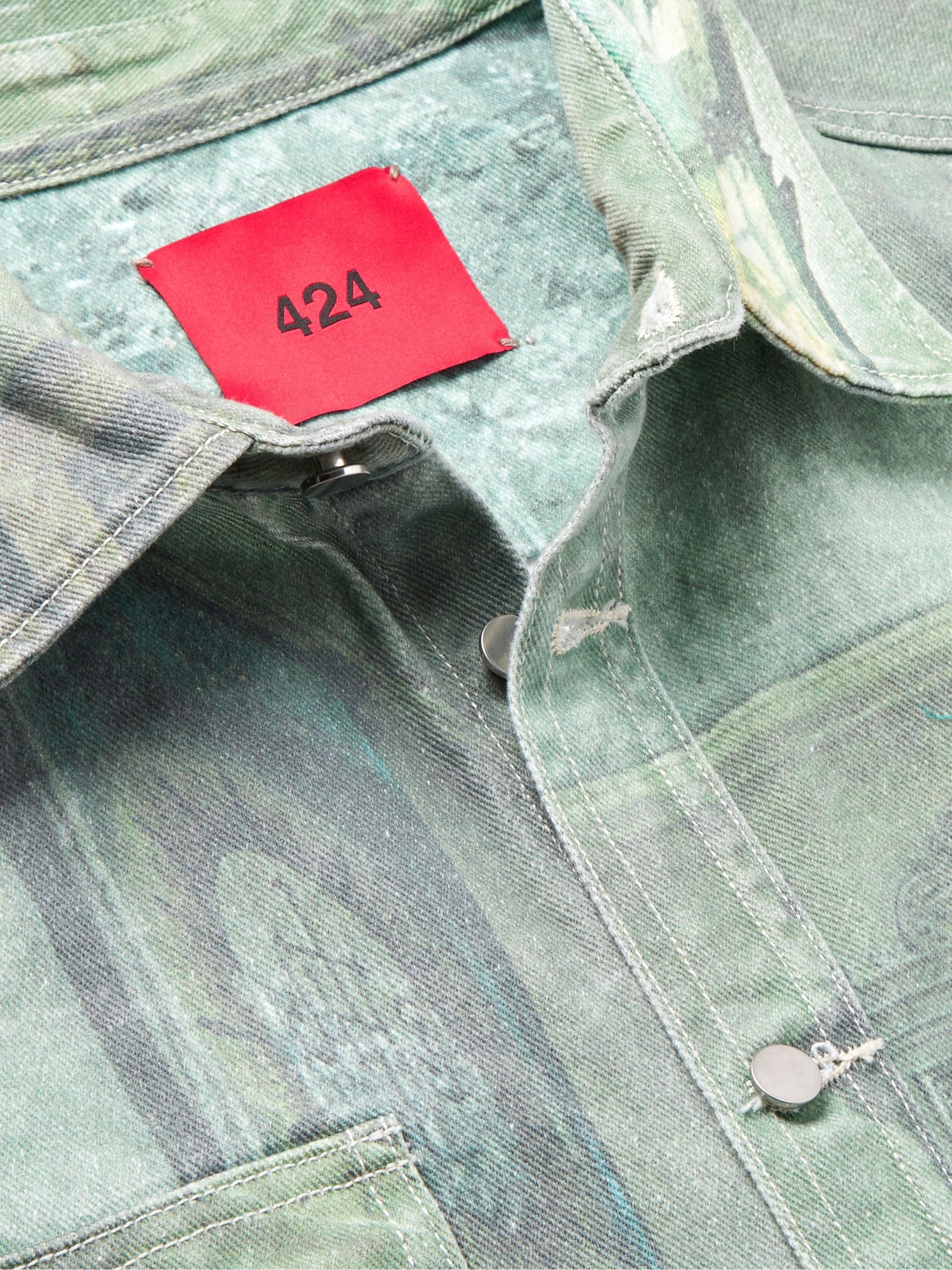 424 Printed Denim Shirt Jacket