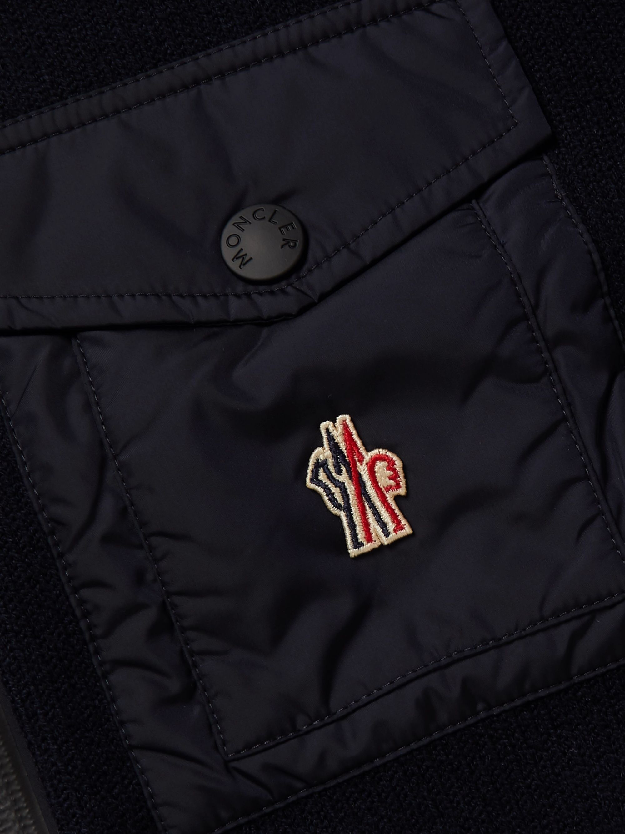 Moncler Grenoble Shell-Panelled Padded Wool-Blend Hooded Zip-Up Cardigan