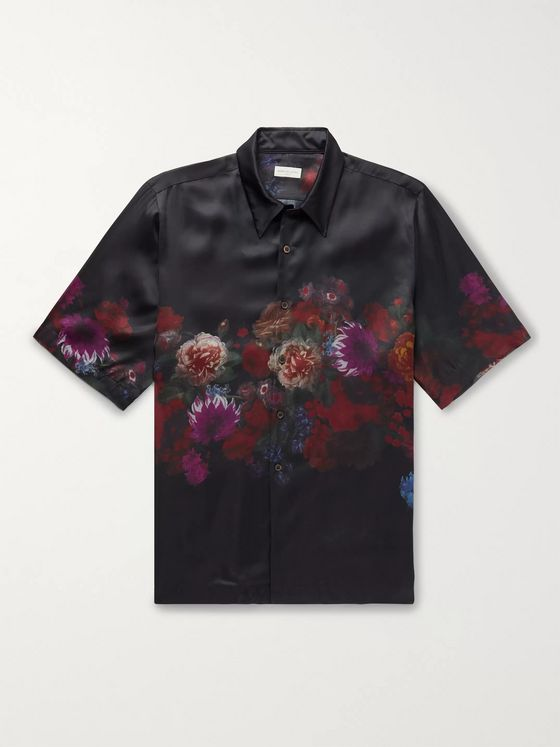Dries Van Noten Floral-Print Matte-Satin Shirt