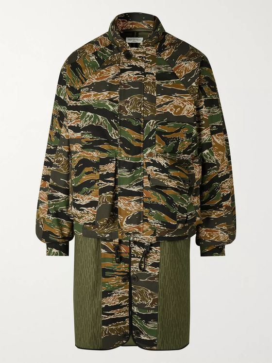 Dries Van Noten Layered Camouflage-Print Cotton Coat