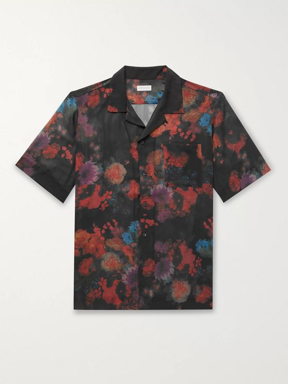 Dries Van Noten Camp-Collar Floral-Print Woven Shirt