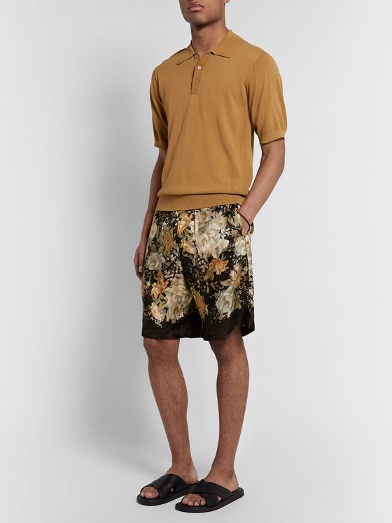 Dries Van Noten Wide-Leg Floral-Print Matte-Satin Drawstring Shorts