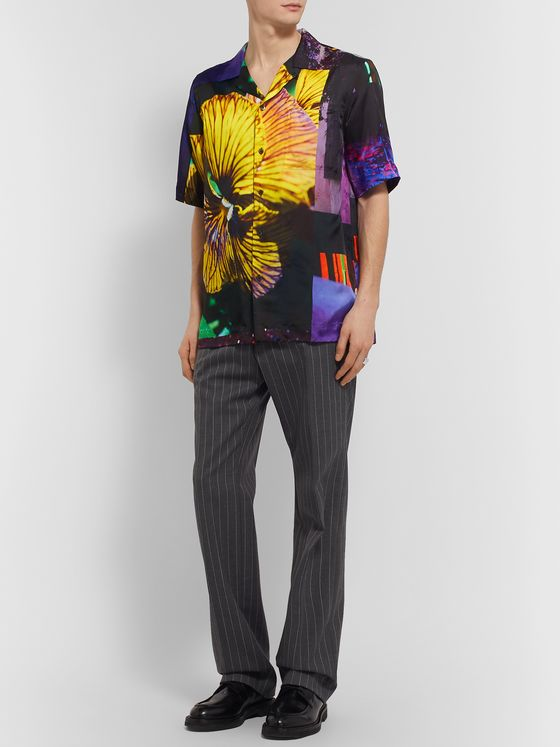 Dries Van Noten Camp-Collar Printed Voile Shirt