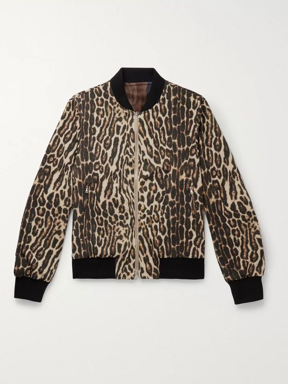 Dries Van Noten Reversible Printed Wool Bomber Jacket