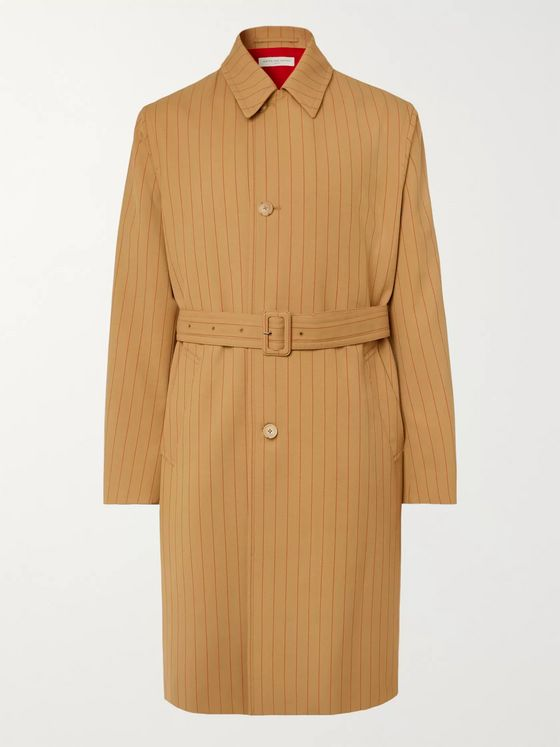 Dries Van Noten Striped Twill Trench Coat