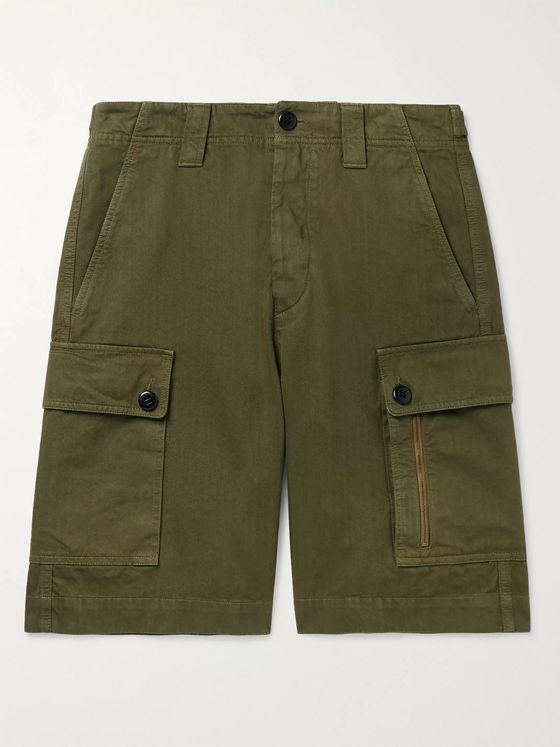 Dries Van Noten Herringbone Cotton Cargo Shorts