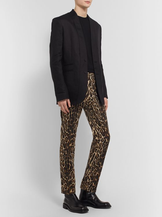 Dries Van Noten Slim-Fit Leopard-Print Wool Trousers