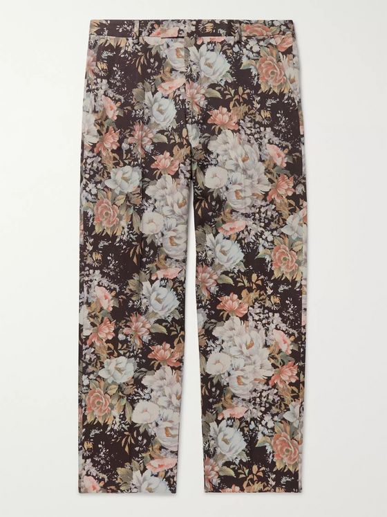 Dries Van Noten Floral-Print Wool-Twill Trousers