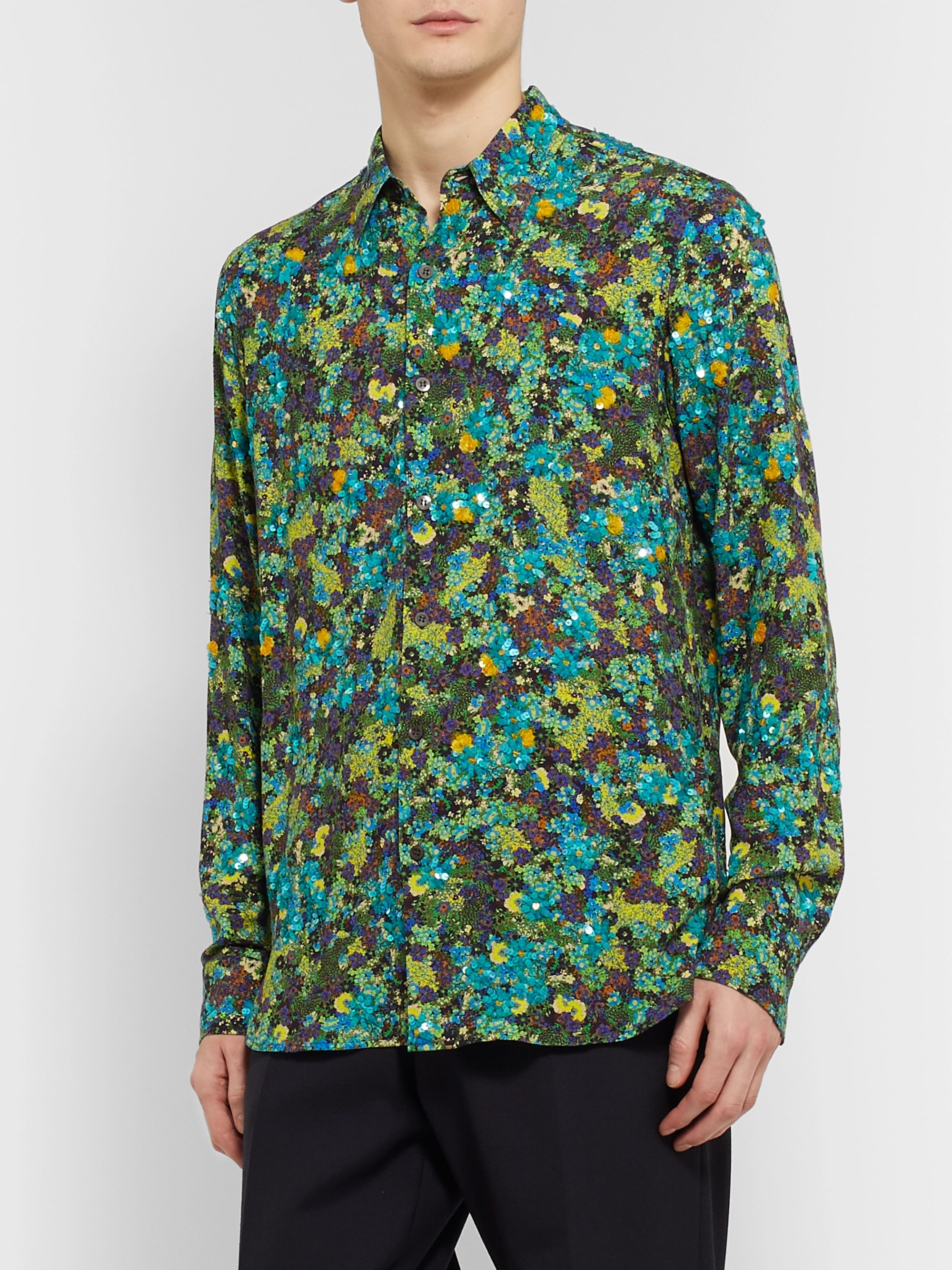 Dries Van Noten Sequin-Embellished Floral-Print Woven Shirt