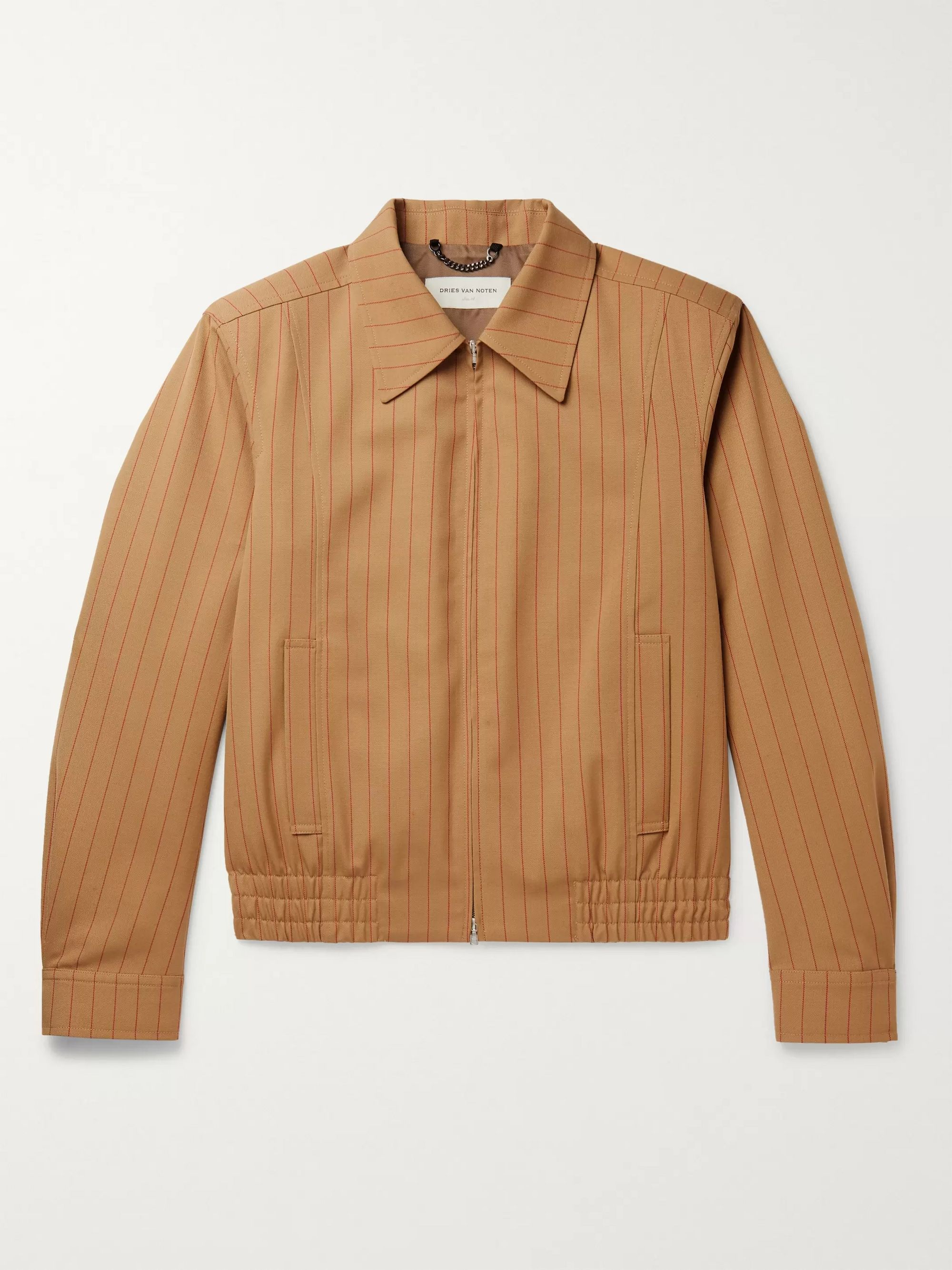 Dries Van Noten Beige Pinstriped Woven Jacket,Beige