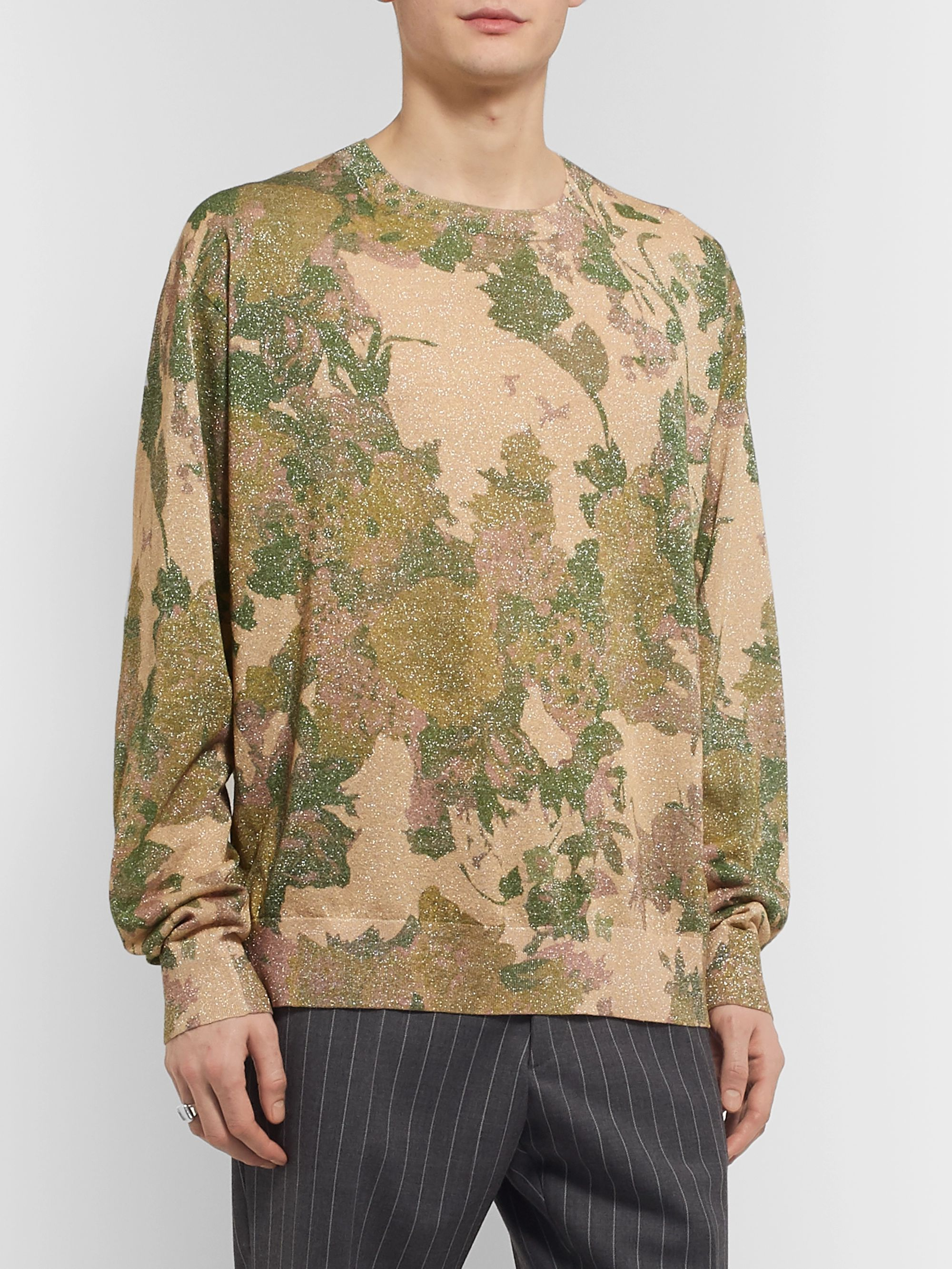 Dries Van Noten Metallic Floral-Print Knitted Sweater