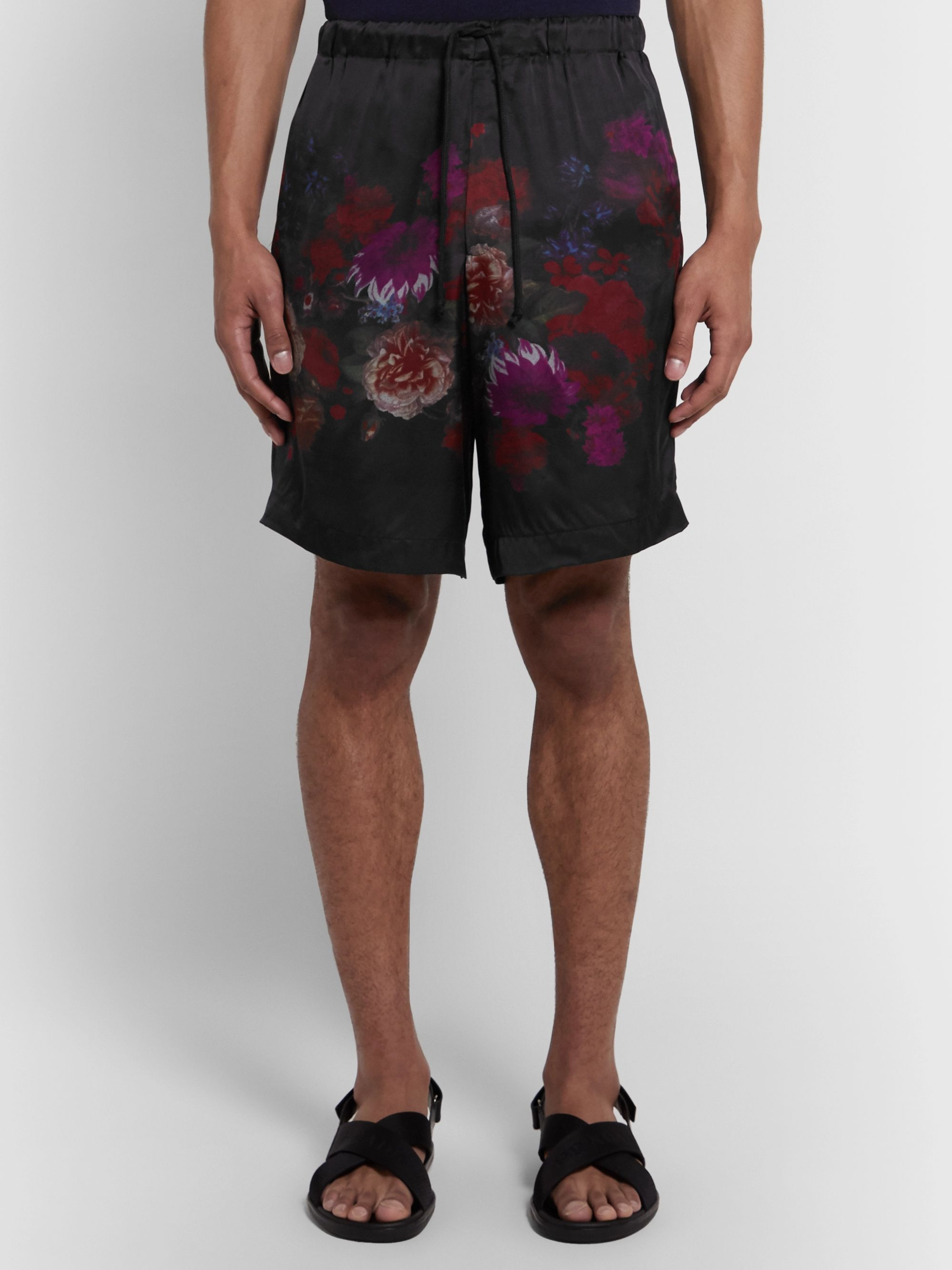 Dries Van Noten Floral-Print Matte-Satin Drawstring Shorts