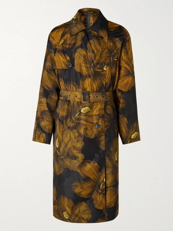 Dries Van Noten Double-Breasted Floral-Print Shell Trench Coat