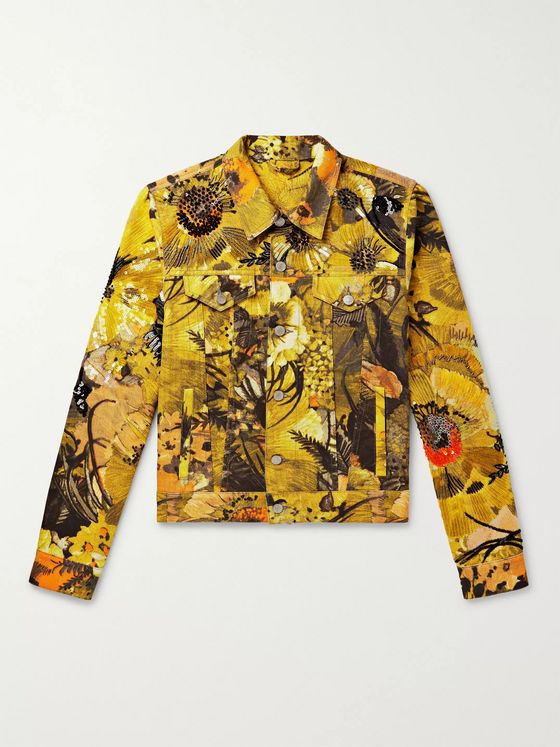 Dries Van Noten Embellished Floral-Print Denim Jacket