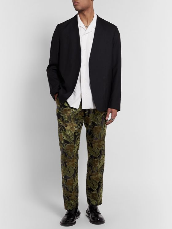 Dries Van Noten Slim-Fit Brocade Drawstring Trousers