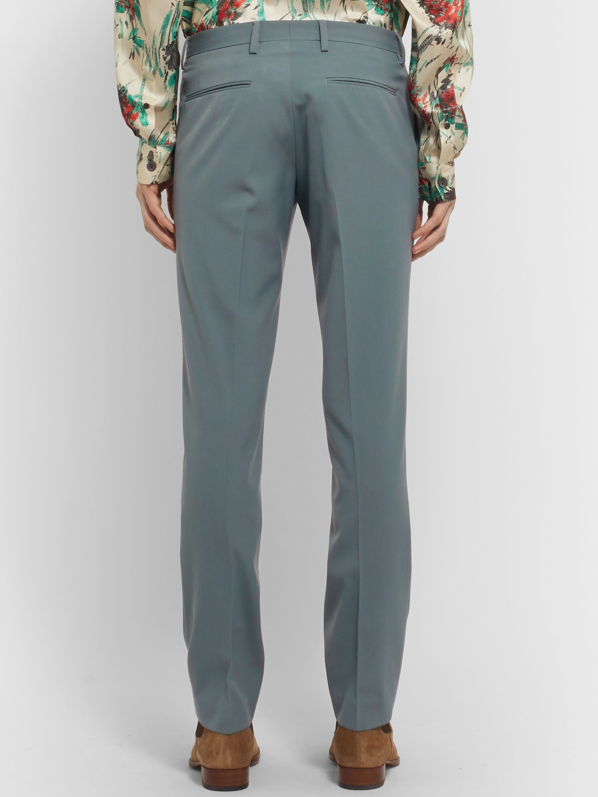 Dries Van Noten Slate-Blue Slim-Fit Wool-Blend Trousers