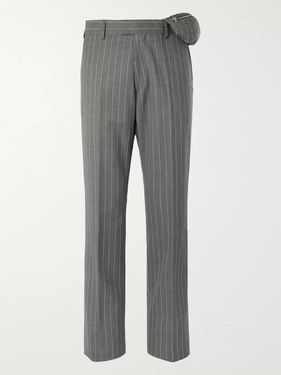 Dries Van Noten Pinstriped Flannel Trousers with Attached Belt Bag