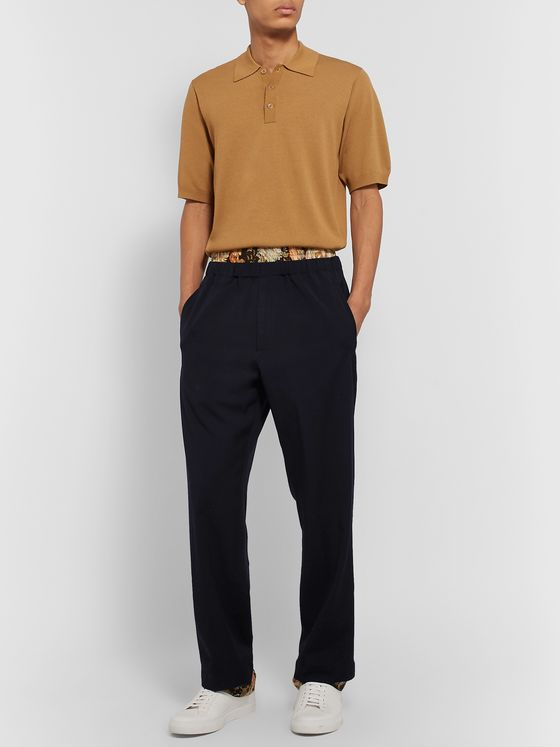 Dries Van Noten Printed Satin-Trimmed Layered Wool-Twill Trousers