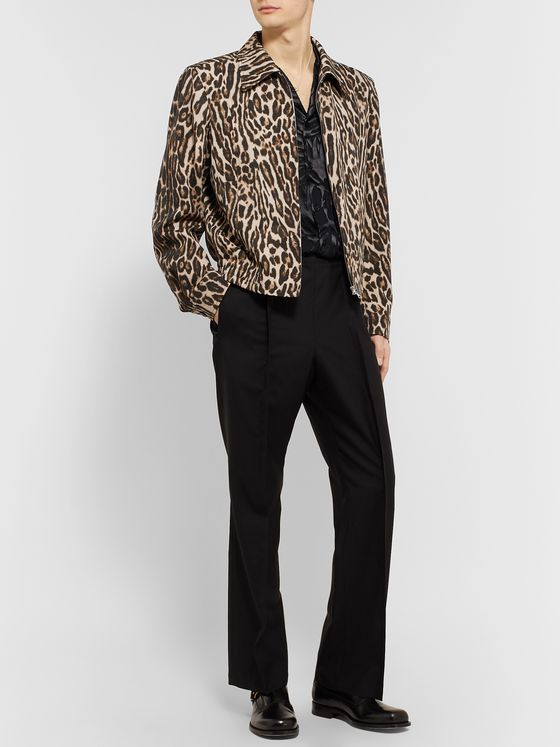 Dries Van Noten Slim-Fit Leopard-Print Wool-Twill Blouson Jacket
