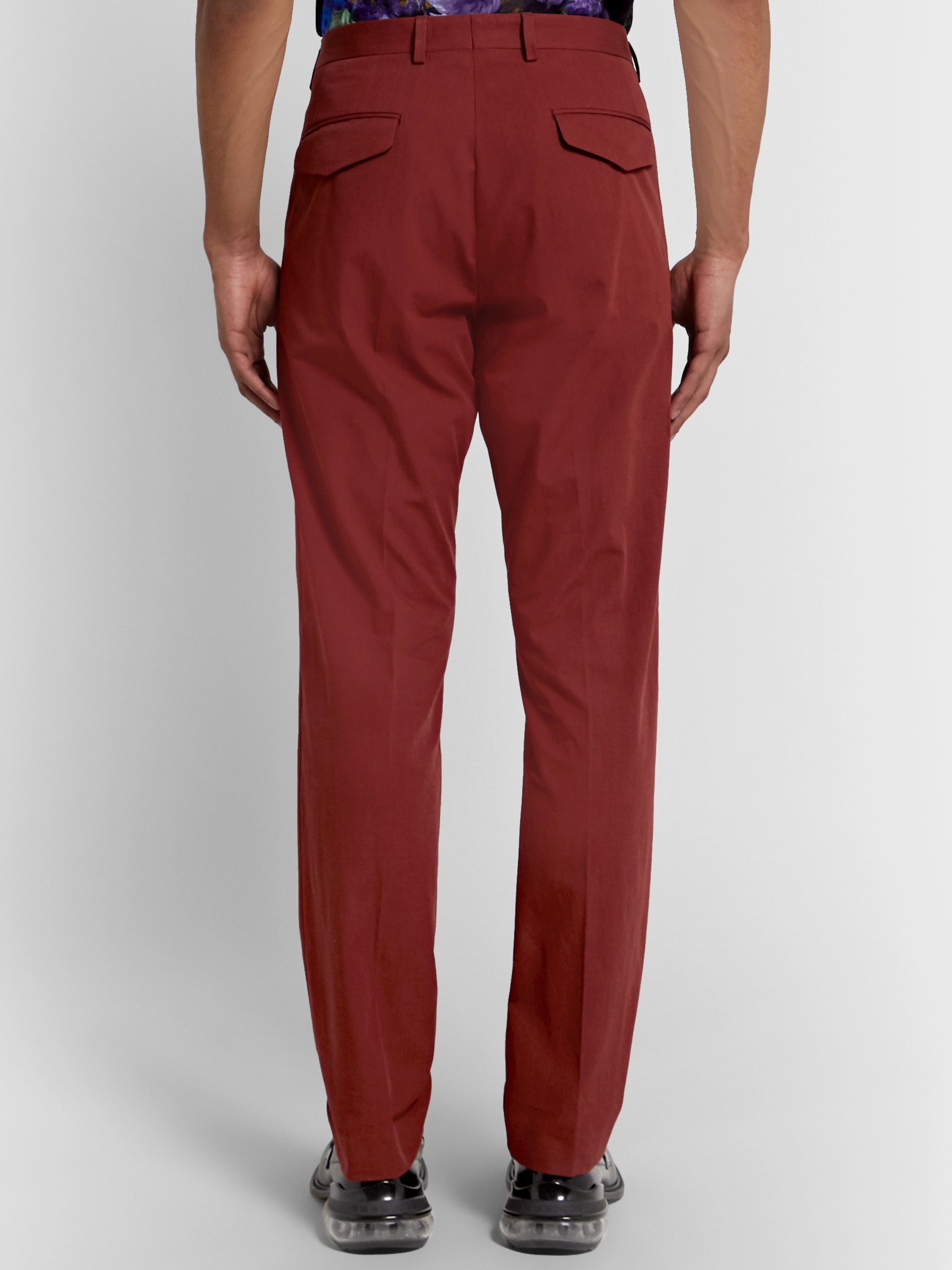 Dries Van Noten Brick Slim-Fit Pleated Cotton Suit Trousers