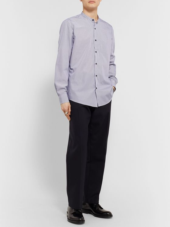 Dries Van Noten Grandad-Collar Striped Cotton-Poplin Shirt