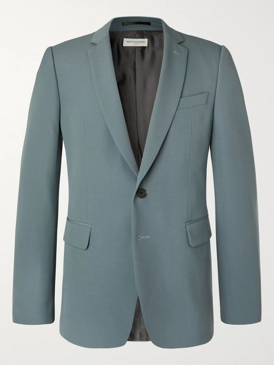 Dries Van Noten Slate-Blue Slim-Fit Wool-Blend Suit Jacket