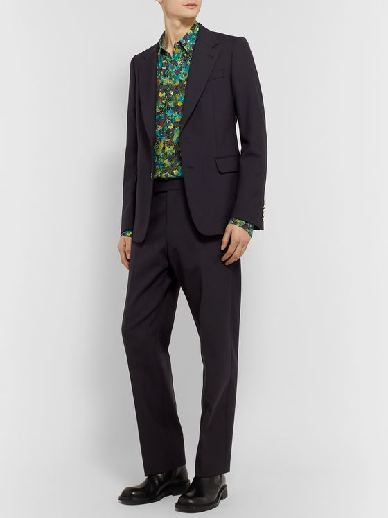 Dries Van Noten Navy Woven Suit Trousers