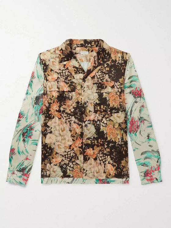 Dries Van Noten Camp-Collar Floral-Print Satin-Twill Shirt