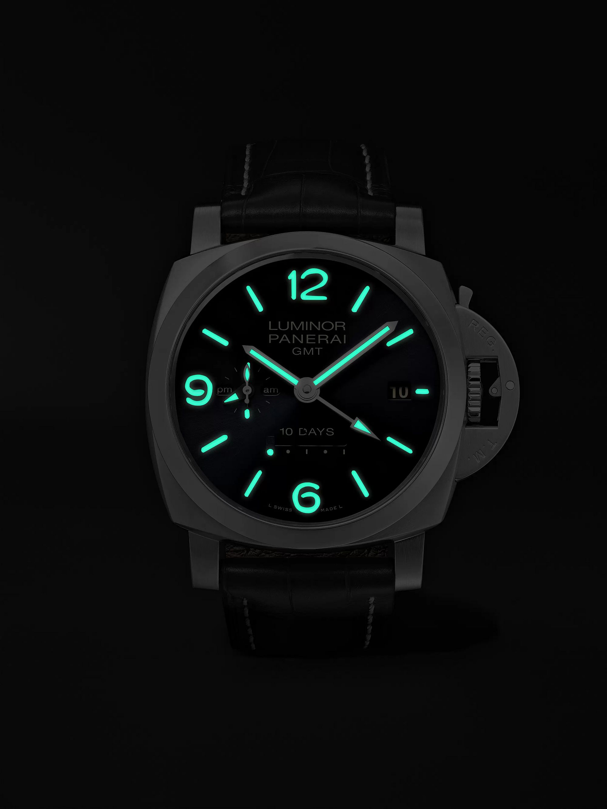 Panerai Luminor 1950 10 Days GMT Automatic 44mm Stainless Steel and Alligator Watch, Ref. No. PNPAM00986