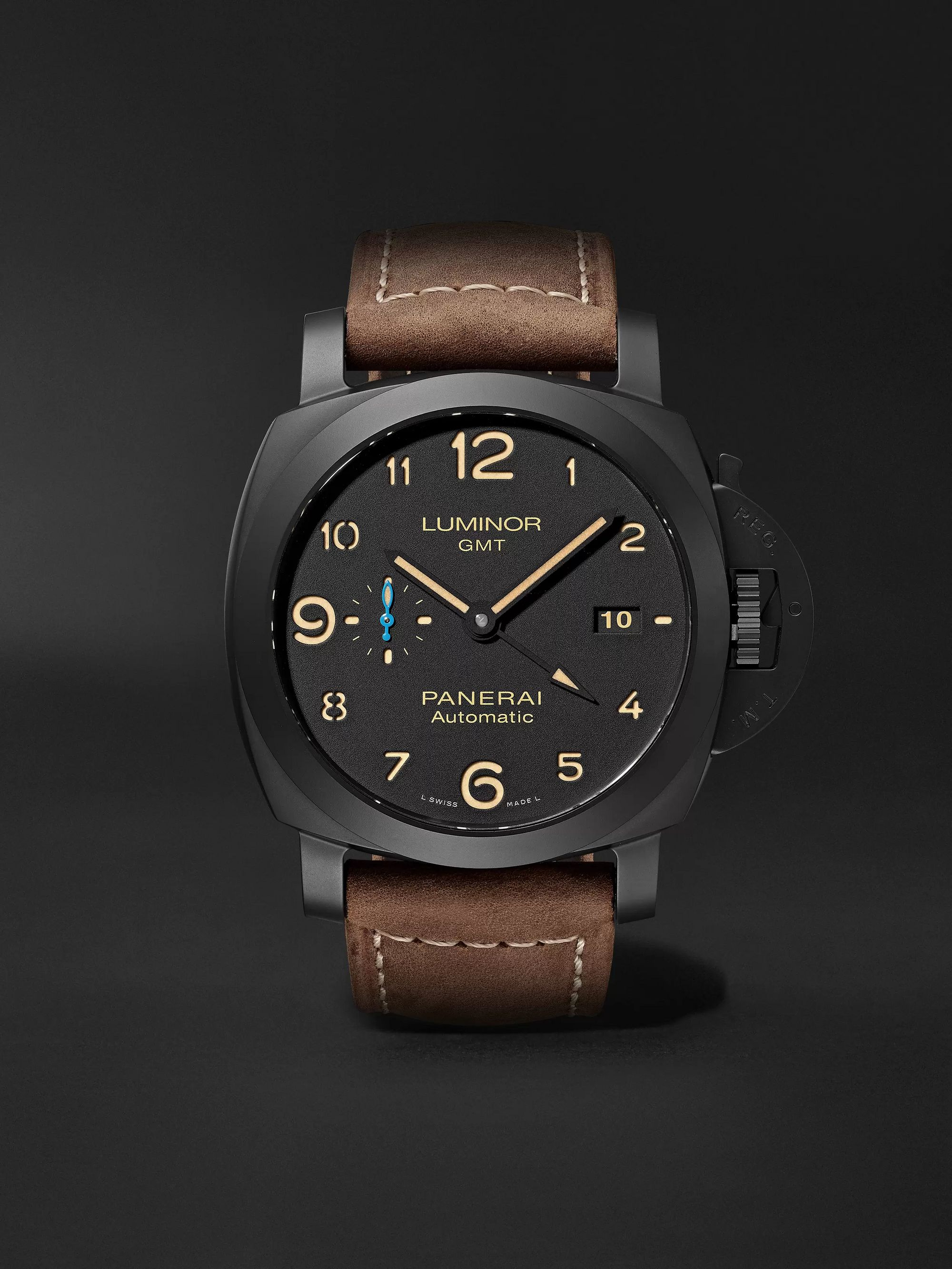Panerai Luminor 1950 3 Days GMT Automatic 44mm Ceramic and Leather Watch, Ref. No. PAM01441