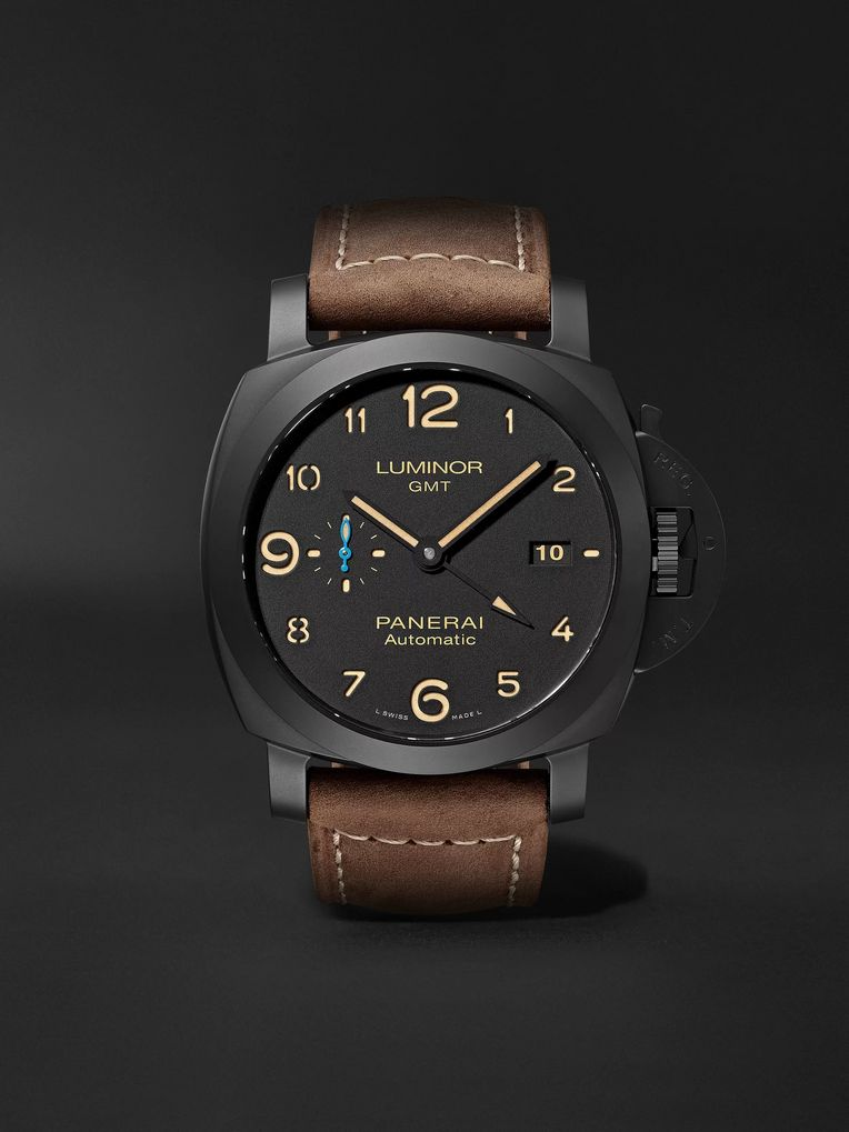 Panerai Luminor 1950 3 Days GMT Automatic 44mm Ceramic and Leather Watch