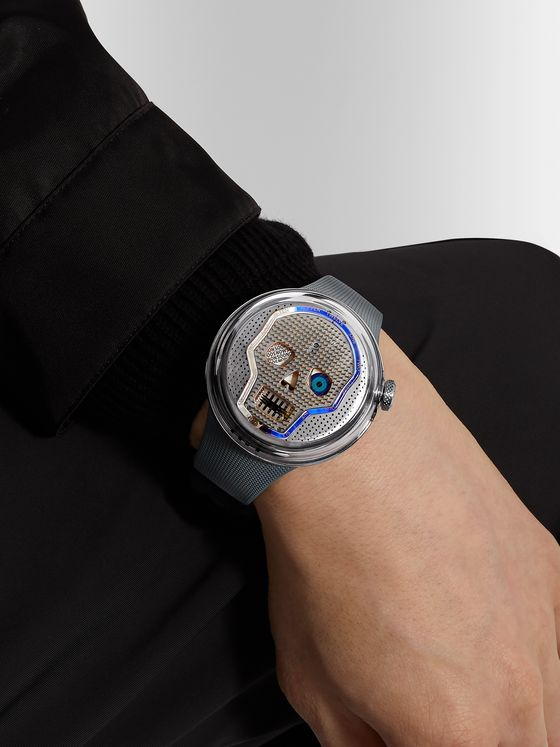HYT Soonow Limited Edition Hand-Wound 48.8mm Stainless Steel and Rubber Watch, Ref No. H02237