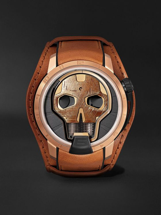 HYT Skull Limited Edition Hand-Wound 48.8mm Titanium and 18-Karat Pink Gold Watch