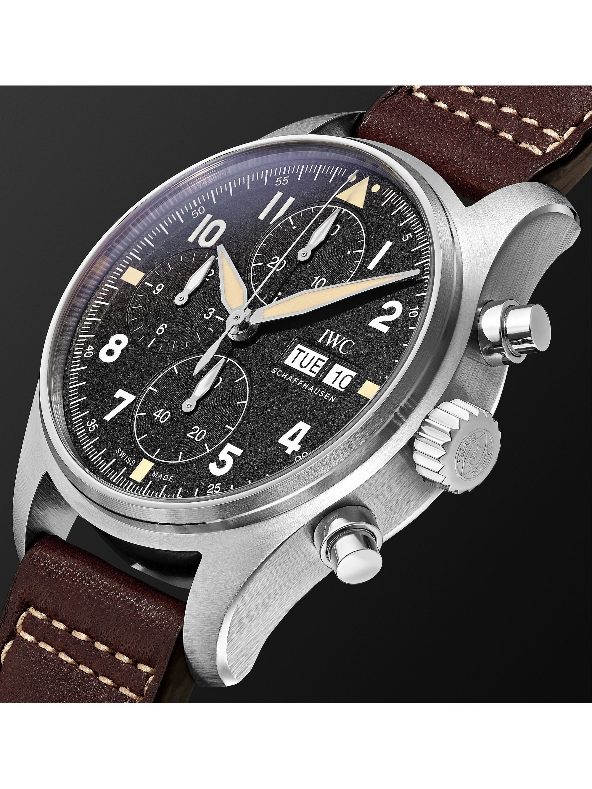 IWC SCHAFFHAUSEN Pilot's Spitfire Automatic Chronograph 41mm Stainless Steel and Leather Watch, Ref. No. IW387903