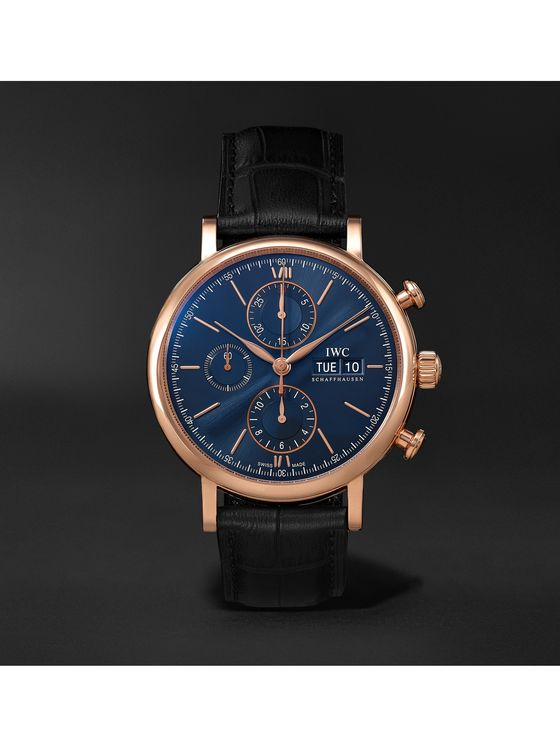 IWC SCHAFFHAUSEN Portofino Automatic Chronograph 42mm 18-Karat Red Gold and Alligator Watch