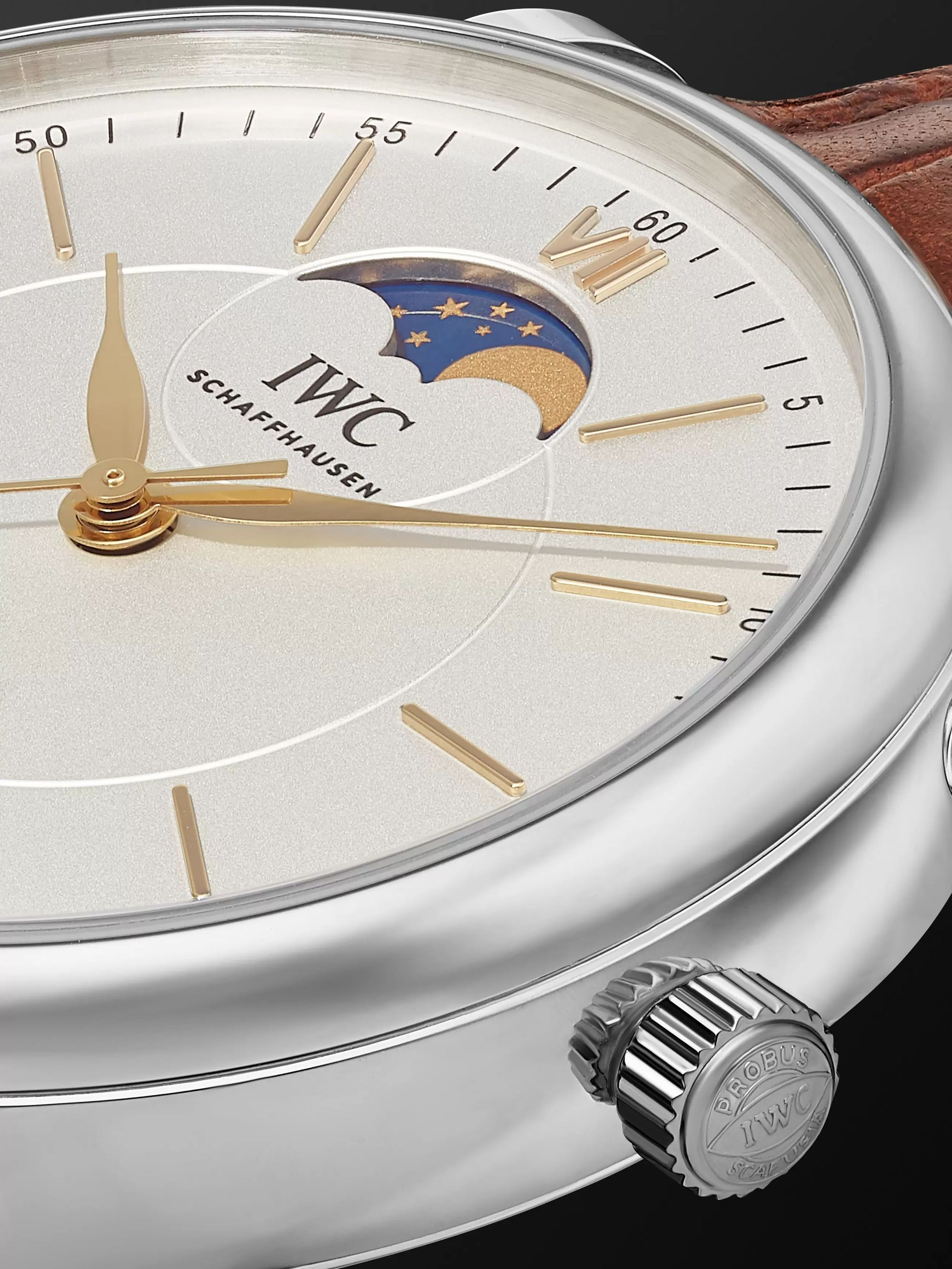 IWC SCHAFFHAUSEN Portofino Automatic 40mm Moon-Phase 40mm Stainless Steel and Alligator Watch