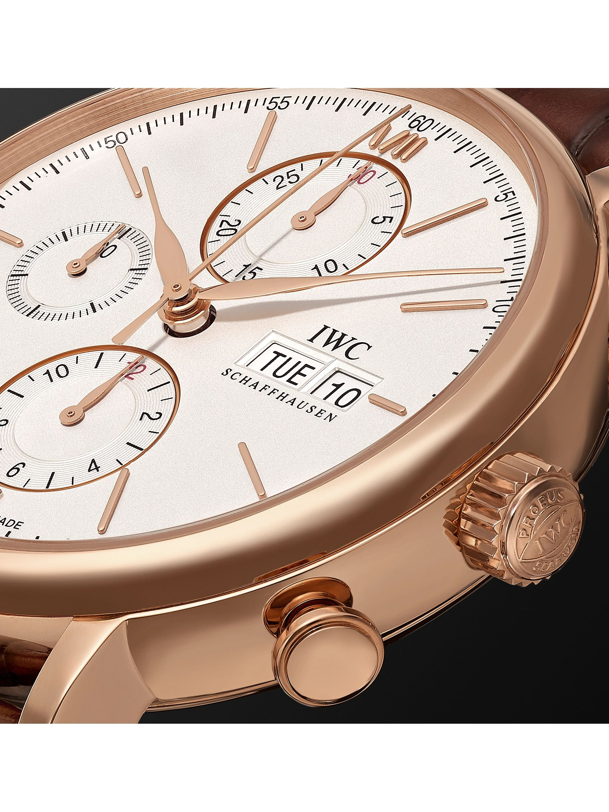 IWC SCHAFFHAUSEN Portofino Chronograph Automatic 42mm 18-Karat Gold and Alligator Watch